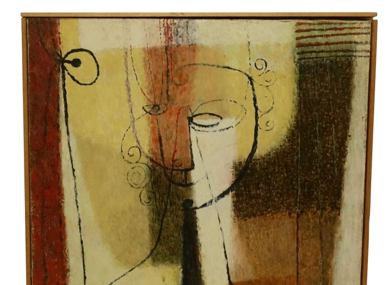 Mid-Century Modern Midcentury Abstract Portrait Painting of a Woman, American, 1951 For Sale