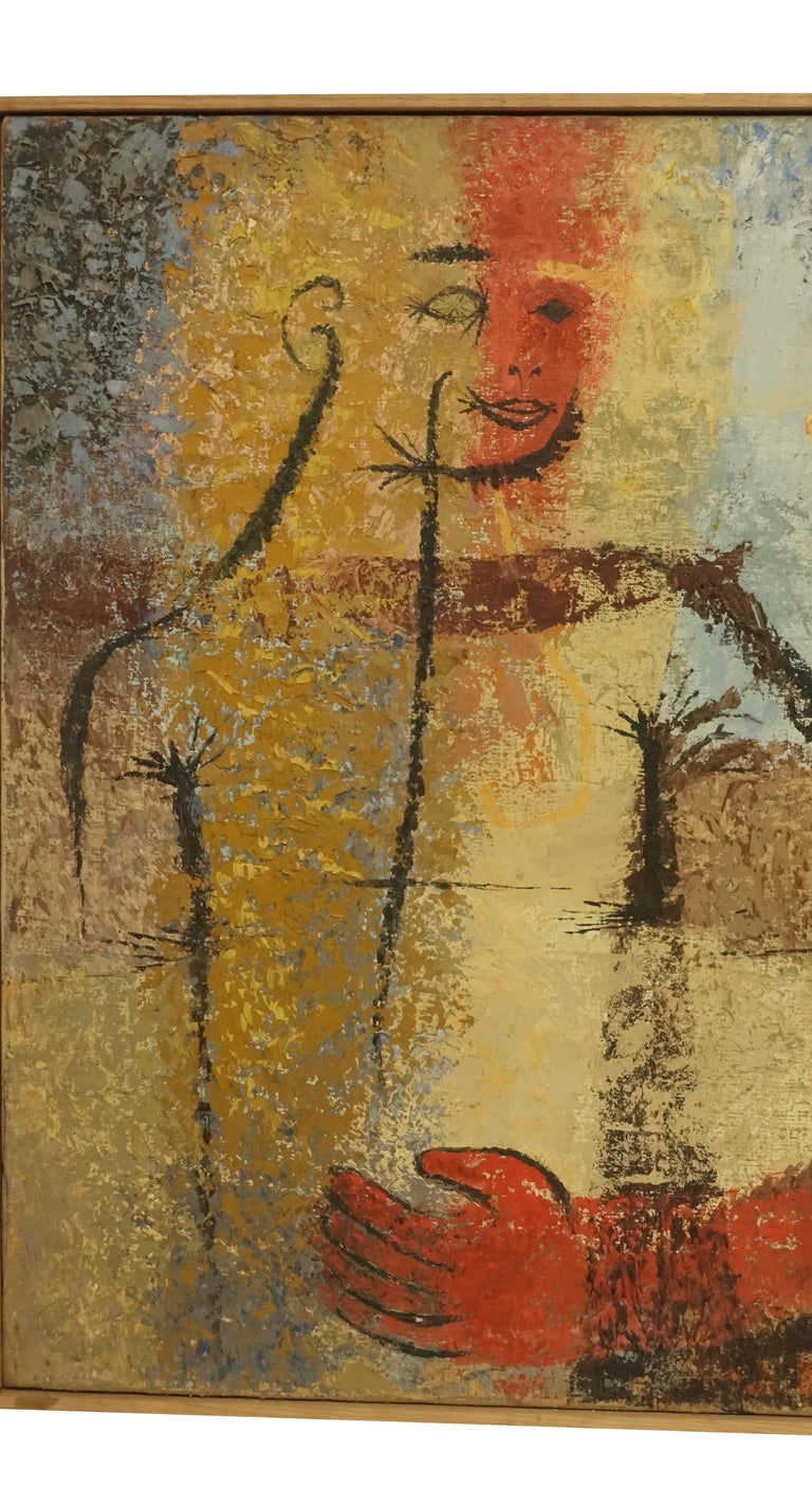 Abstract oil on canvas portrait of a woman in original simple wood frame. Signed Ruth Jalovick, and dated August 1954.