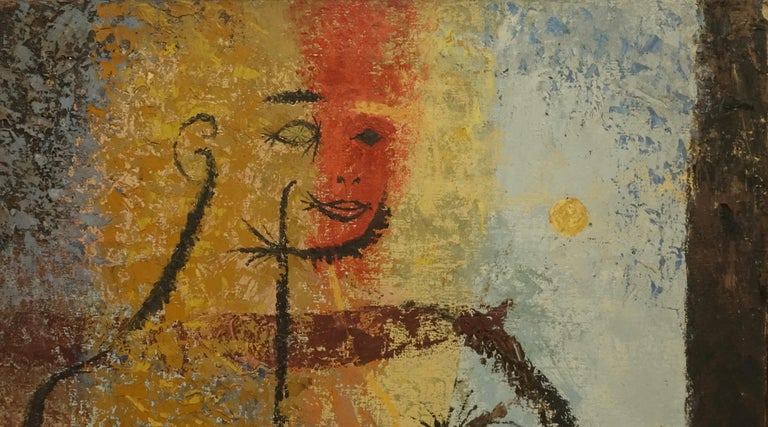 Mid-Century Modern Midcentury Abstract Portrait Painting of a Woman, American, 1954 For Sale
