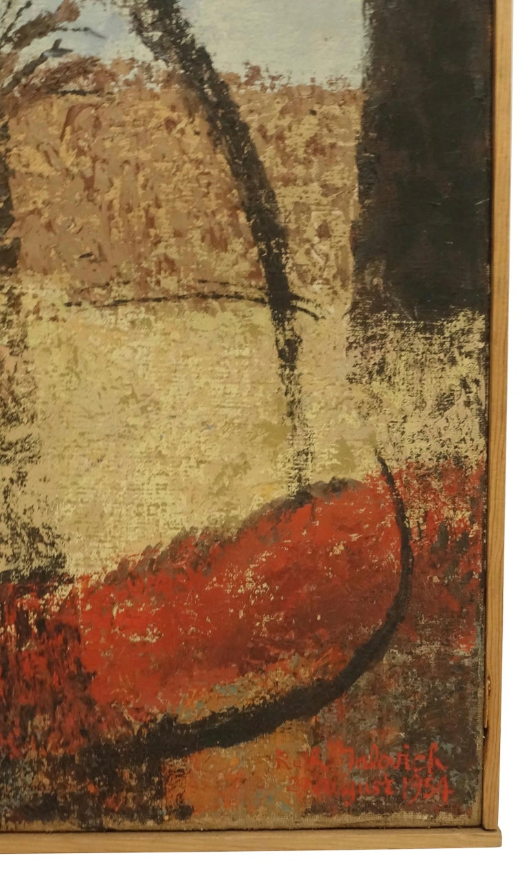 Hand-Painted Midcentury Abstract Portrait Painting of a Woman, American, 1954 For Sale