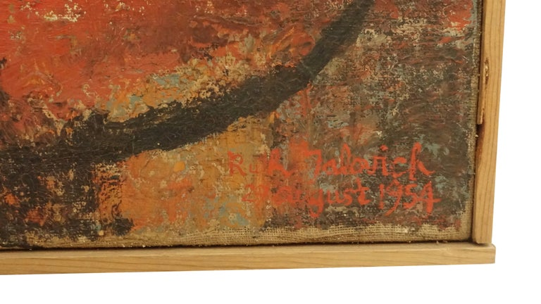 Midcentury Abstract Portrait Painting of a Woman, American, 1954 In Good Condition For Sale In San Francisco, CA