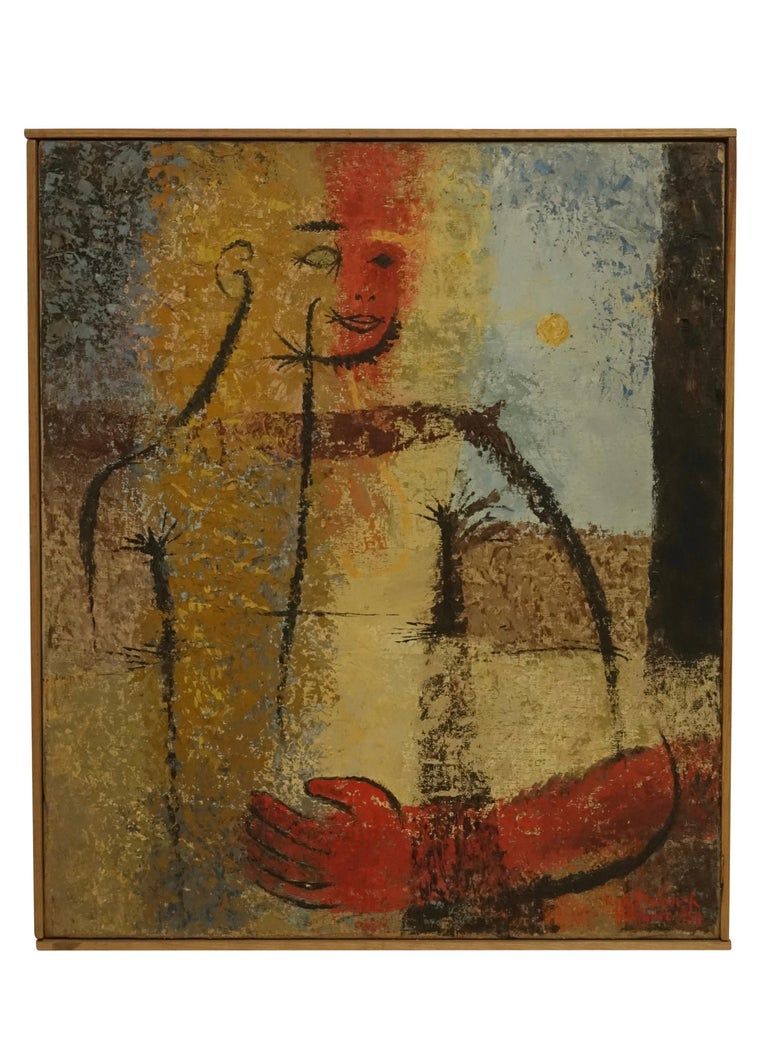 Canvas Midcentury Abstract Portrait Painting of a Woman, American, 1954 For Sale