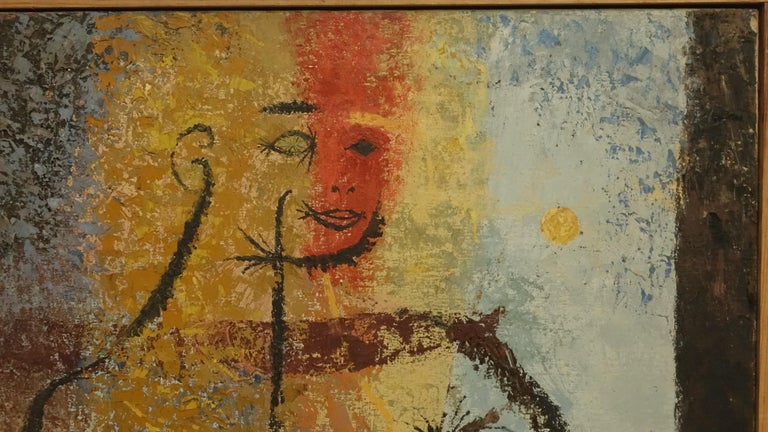 Midcentury Abstract Portrait Painting of a Woman, American, 1954 For Sale 1