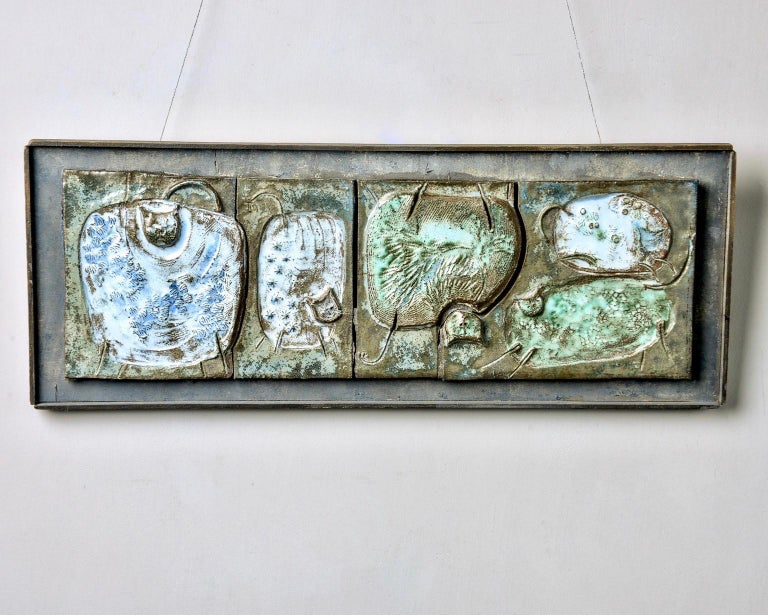 Mid-Century Modern Midcentury Abstract Pottery Plaque with Cats For Sale