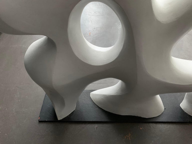 Epoxy Resin Midcentury Abstract White Sculpture, 1980s For Sale