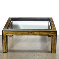 Midcentury Acid Etched Brass Cocktail Table by Bernhard Rohne for Mastercraft