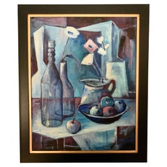 Mid-Century Acrylic Blue Cubist Style Painting on Canvas Signed Redfearn