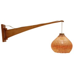 Midcentury Adjustable Wooden Wall Lamp, 1960s