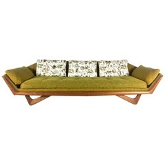 Midcentury Adrian Pearsall Craft Associates Gold Tweed Sofa Triangular Legs