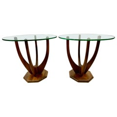 Mid-Century Adrian Pearsall Style Sculptural Walnut Side Tables, a Pair
