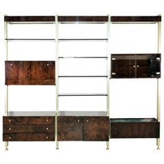 Midcentury Aldo Tura Wall Unit Bookcase Bar, Italy, 1970s