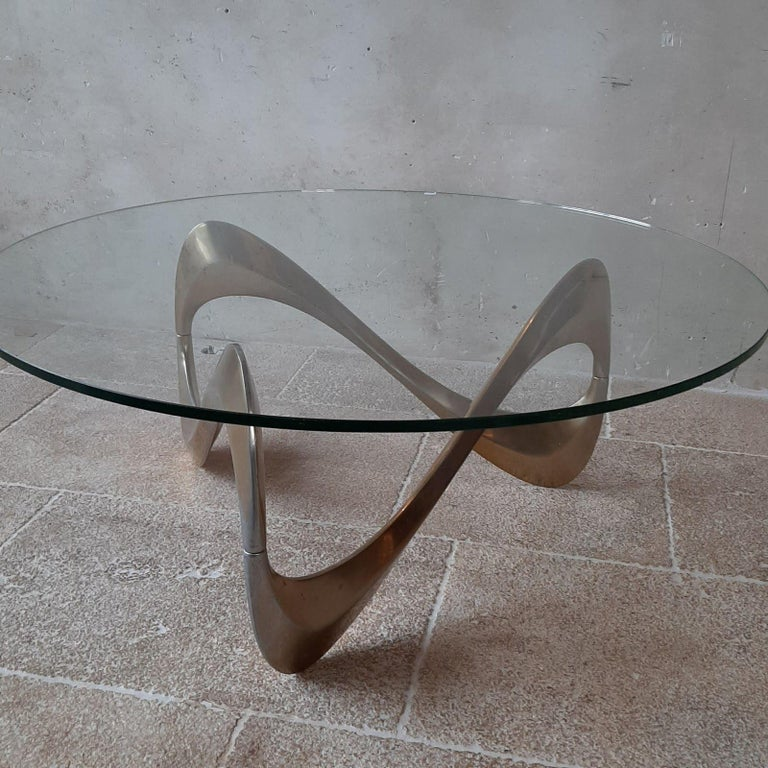 Mid-Century Modern Midcentury Aluminum and Glass Coffee Table by Knut Hesterberg from the 1960s For Sale