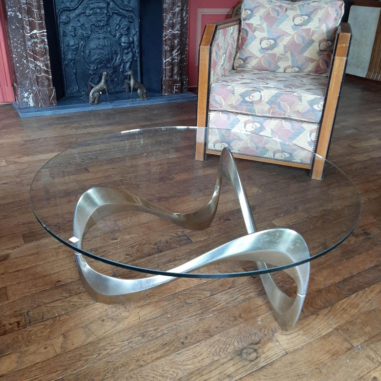 Midcentury Aluminum and Glass Coffee Table by Knut Hesterberg from the 1960s For Sale 2