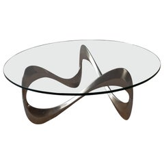 Midcentury Aluminum and Glass Coffee Table by Knut Hesterberg from the 1960s