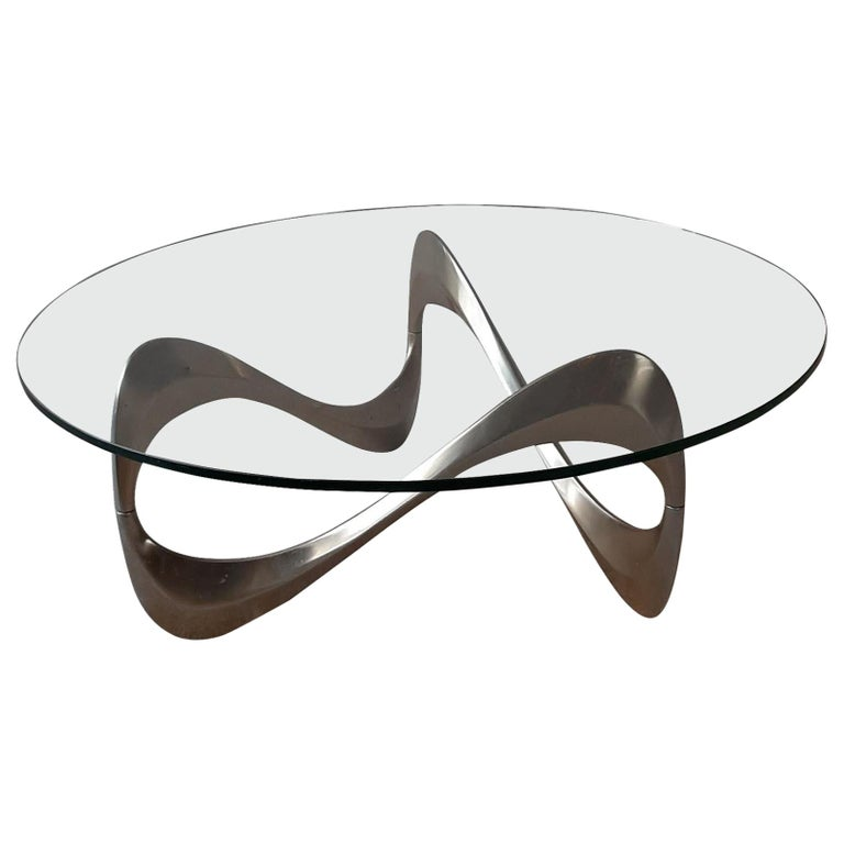 Midcentury Aluminum and Glass Coffee Table by Knut Hesterberg from the 1960s For Sale