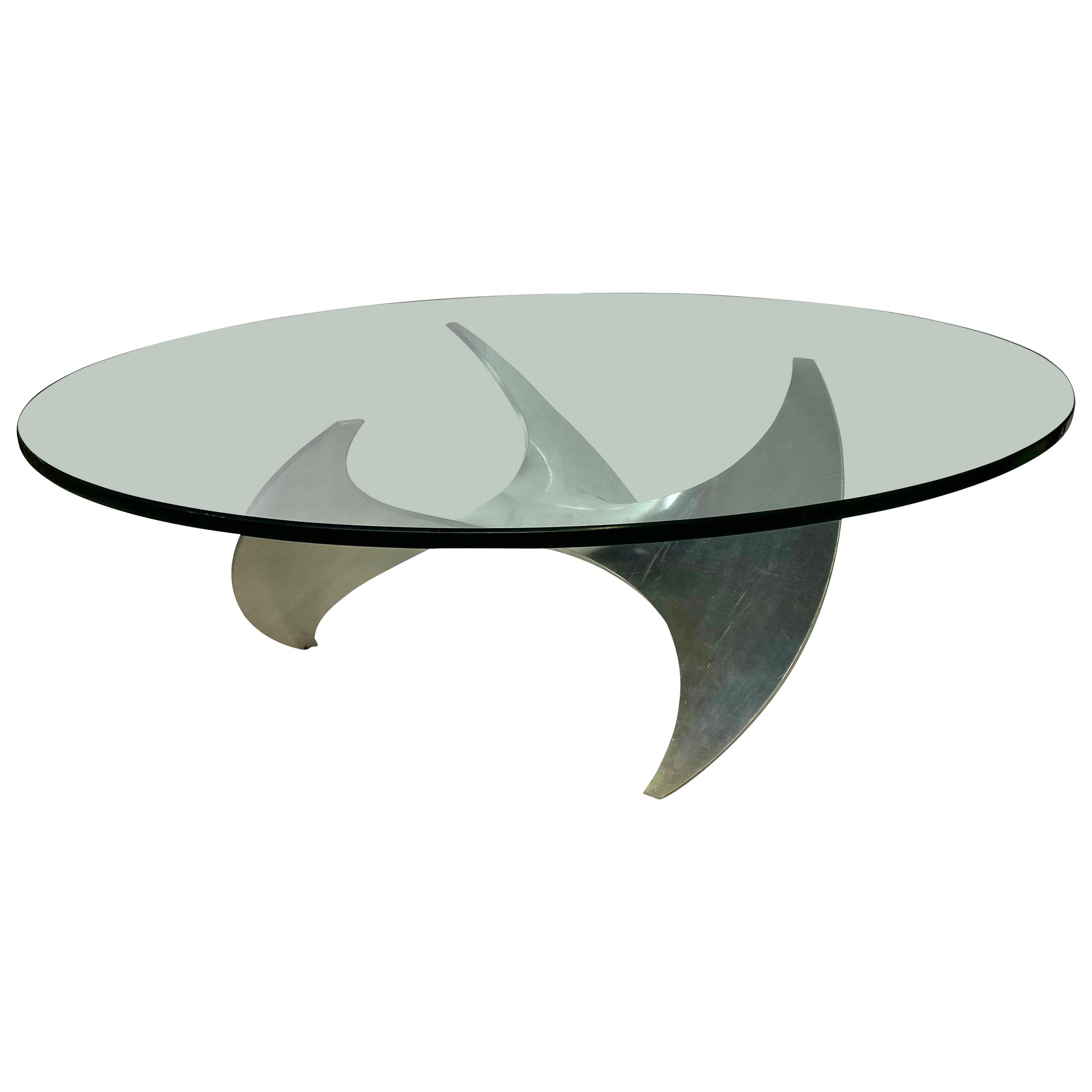 Midcentury Aluminum and Glass Propeller Table by Knut Hesterberg