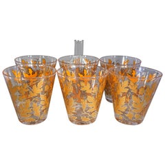 Midcentury American 6-Piece Autumn Leaves Glassware Set by Culver