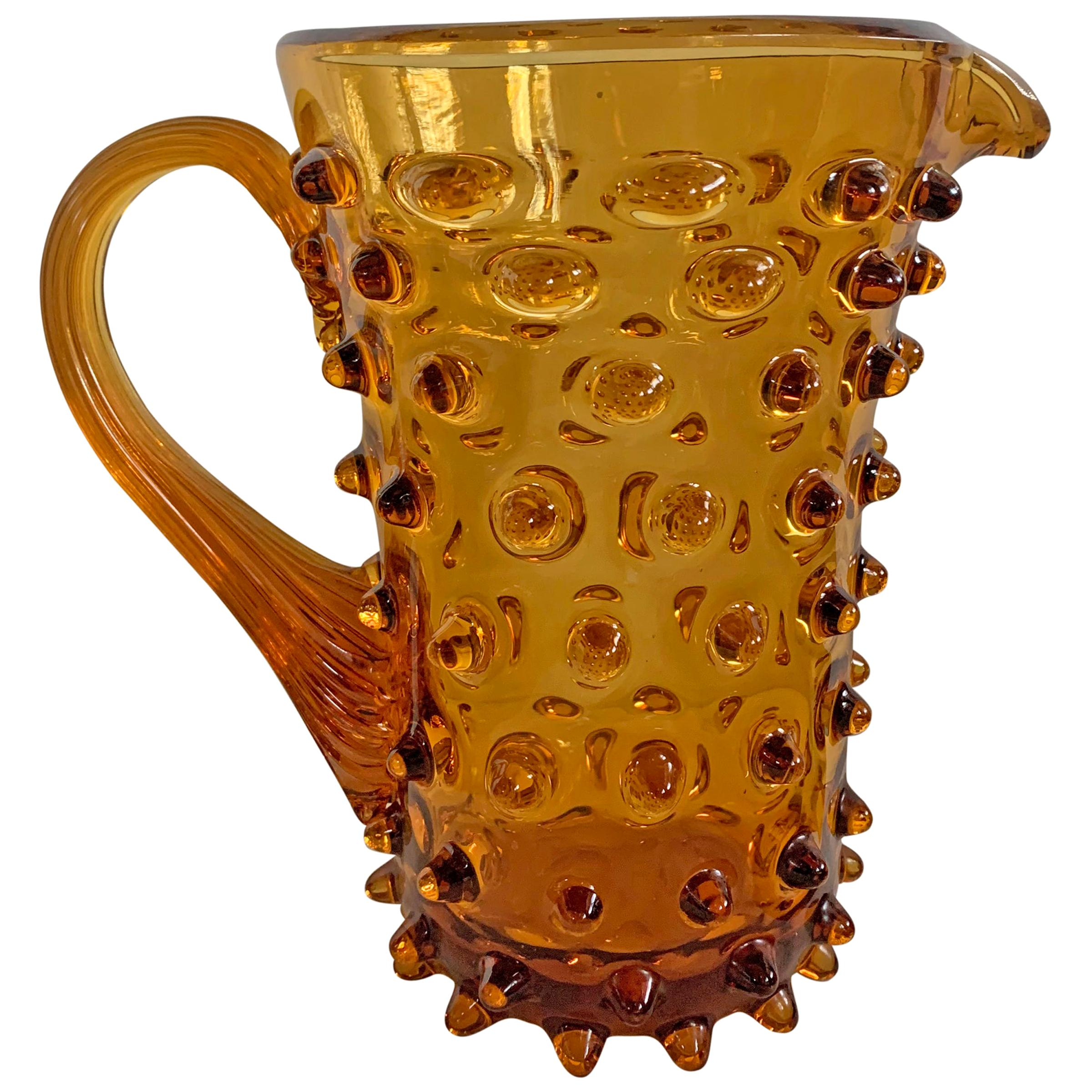 Midcentury American Amber Hobnail Glass Pitcher