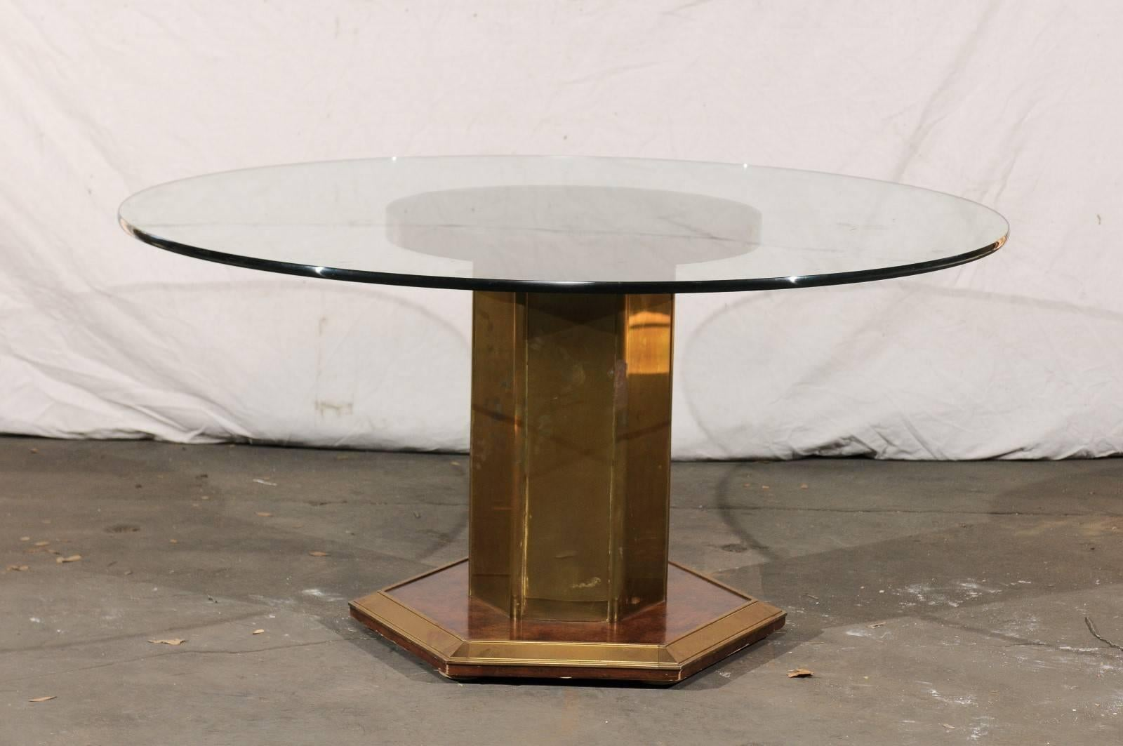 Mid 20th Century Circa 1970s American Brass And Burled Wood Pedestal Round  Glass Dining Table