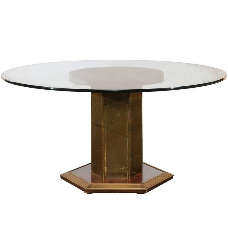 Midcentury American Brass and Burled Wood Pedestal Round Glass Dining Table