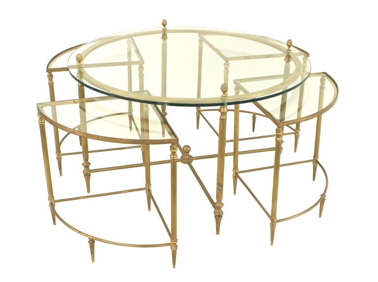 Mid-Century Modern Mid-Century American Brass Coffee Table with Four Nested Wedge Tables For Sale