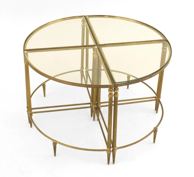 Mid-Century American Brass Coffee Table with Four Nested Wedge Tables In Good Condition For Sale In New York, NY