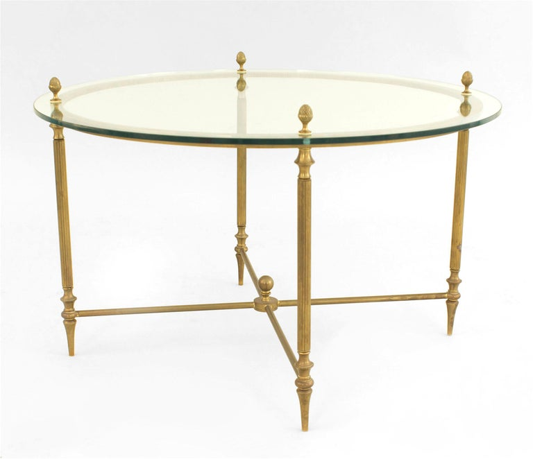 Mid-Century American Brass Coffee Table with Four Nested Wedge Tables For Sale 2