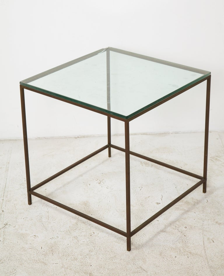 Midcentury American Bronze and Glass Side Table, circa 1950 For Sale 7