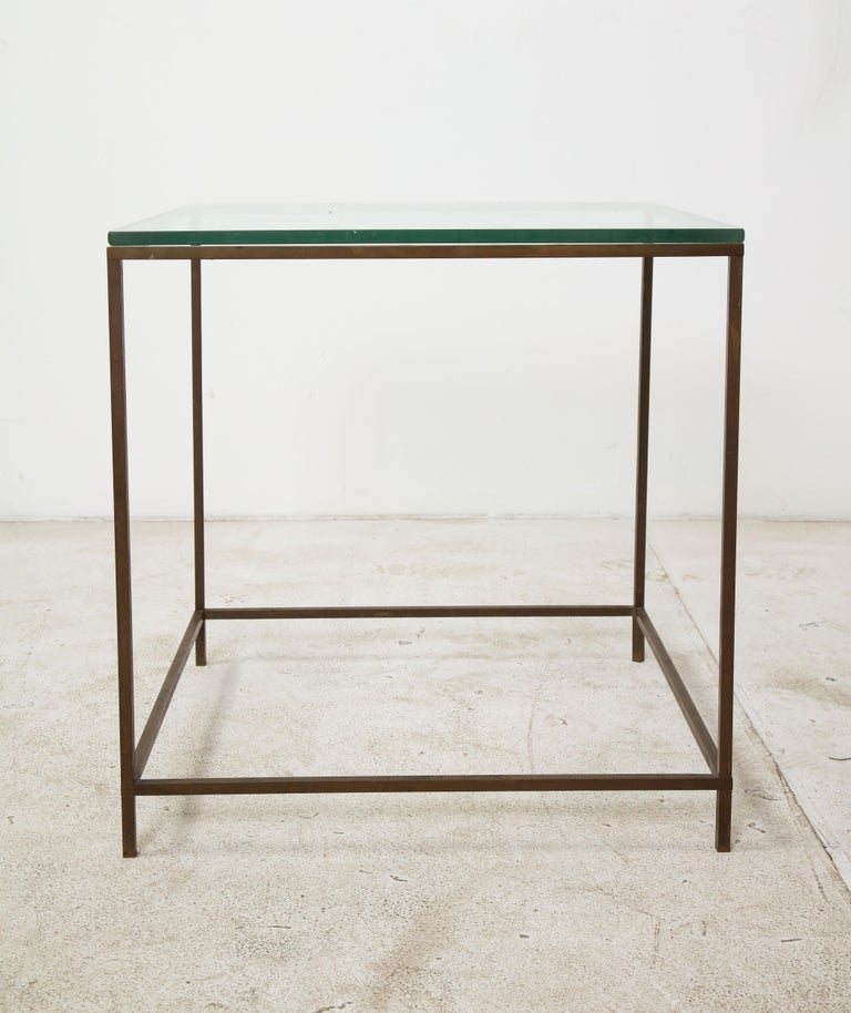 Mid-20th Century Midcentury American Bronze and Glass Side Table, circa 1950 For Sale