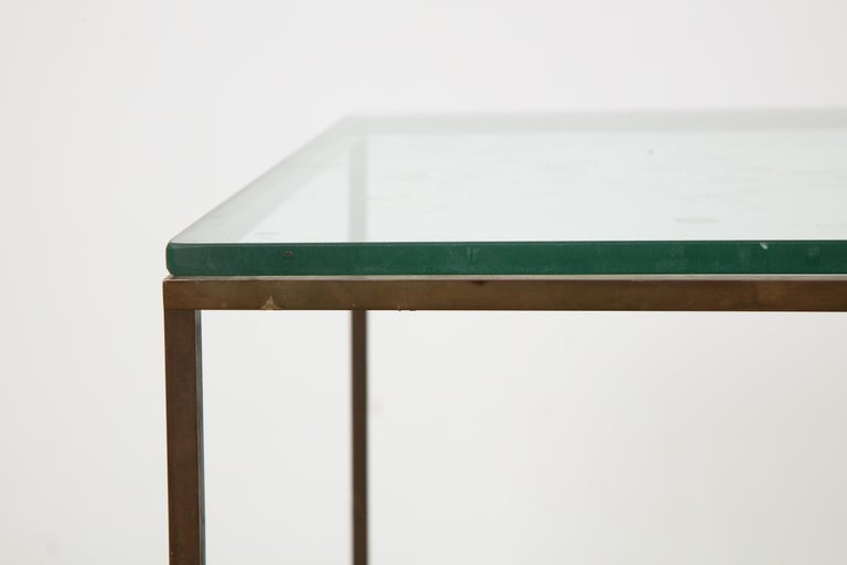 Midcentury American Bronze and Glass Side Table, circa 1950 For Sale 2