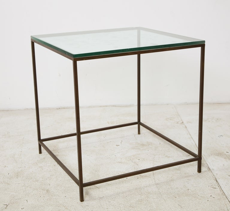 Midcentury American Bronze and Glass Side Table, circa 1950 For Sale 3