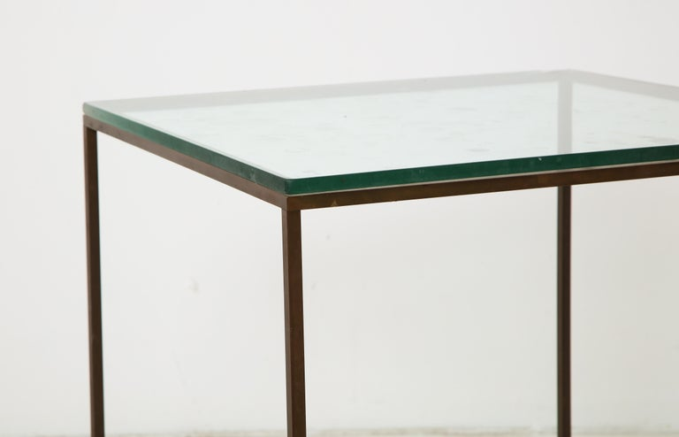 Midcentury American Bronze and Glass Side Table, circa 1950 For Sale 4