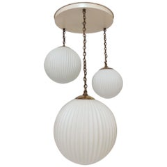 Midcentury American Modern Ribbed Glass Pendant Chandelier, circa 1950s