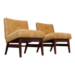 Midcentury American Modern Walnut and Velvet Slipper Chairs