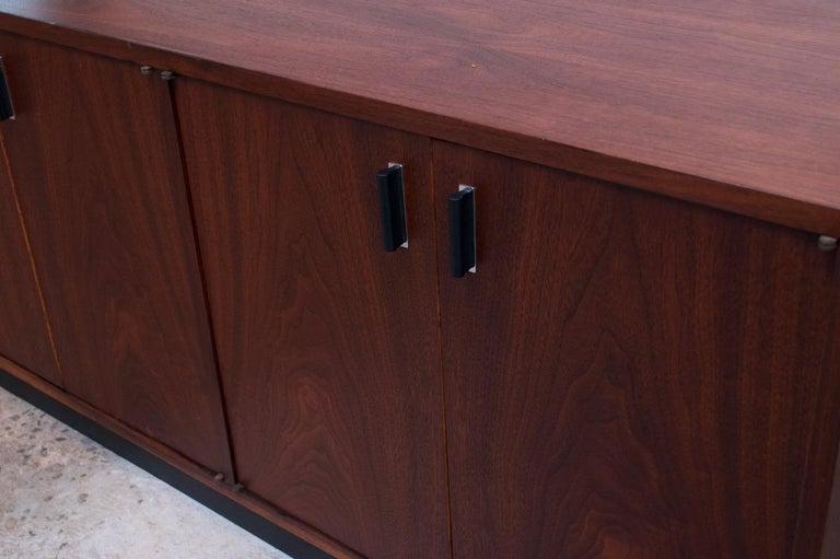 Midcentury American Modern Walnut Credenza with Ebonized Plinth Base For Sale 7