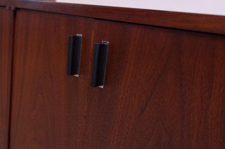 Midcentury American Modern Walnut Credenza with Ebonized Plinth Base For Sale 8