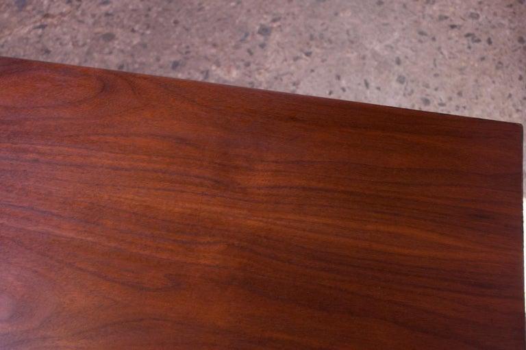 Midcentury American Modern Walnut Credenza with Ebonized Plinth Base For Sale 10