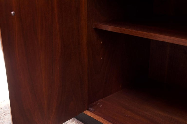 Midcentury American Modern Walnut Credenza with Ebonized Plinth Base For Sale 11