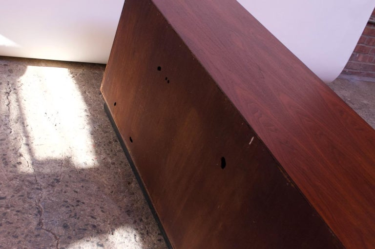 Midcentury American Modern Walnut Credenza with Ebonized Plinth Base For Sale 13