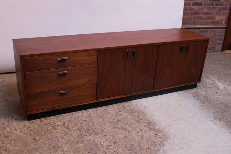 Mid-20th Century Midcentury American Modern Walnut Credenza with Ebonized Plinth Base For Sale