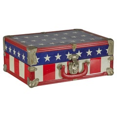 Mid-Century American Small Red, White, and Blue Flag Motif Suitcase