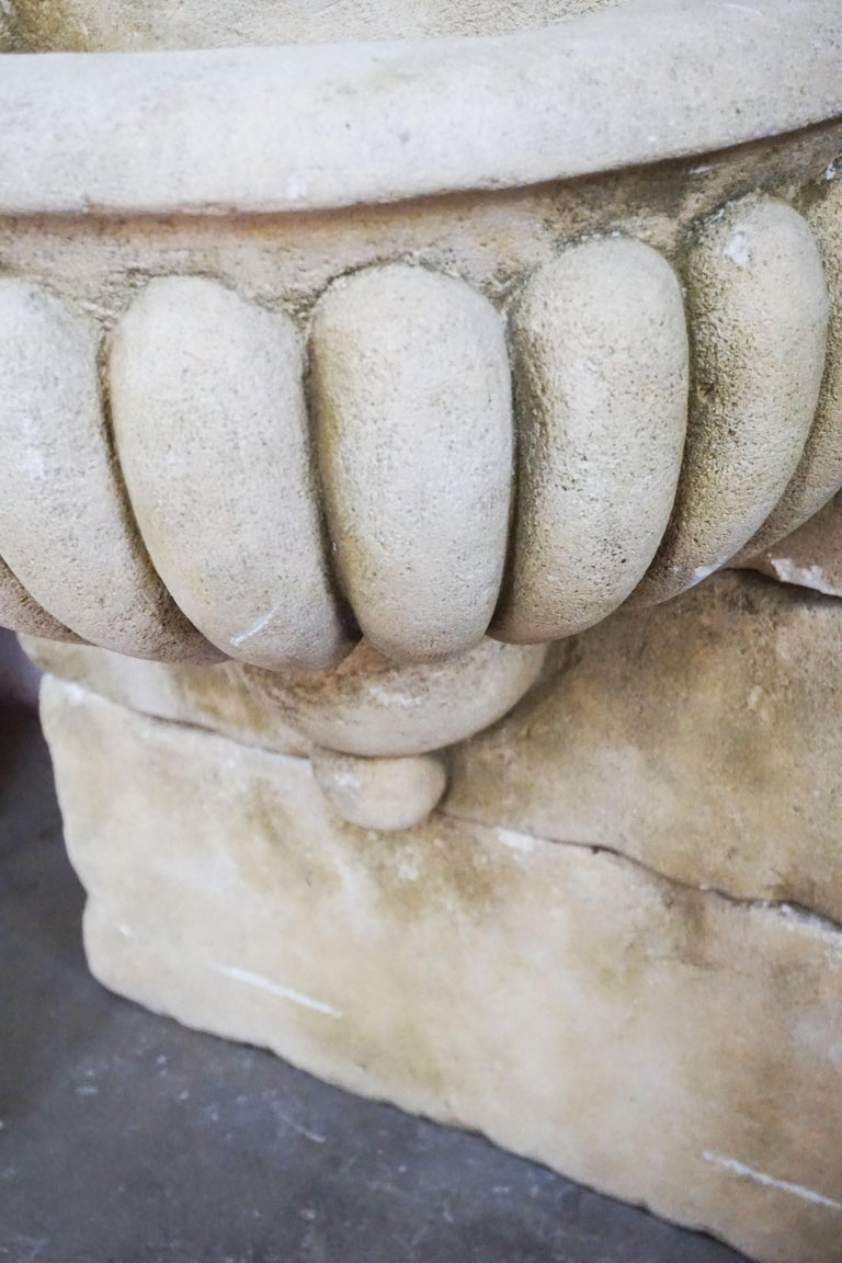 French Mid Century Antique Limestone Wall Fountain For Sale