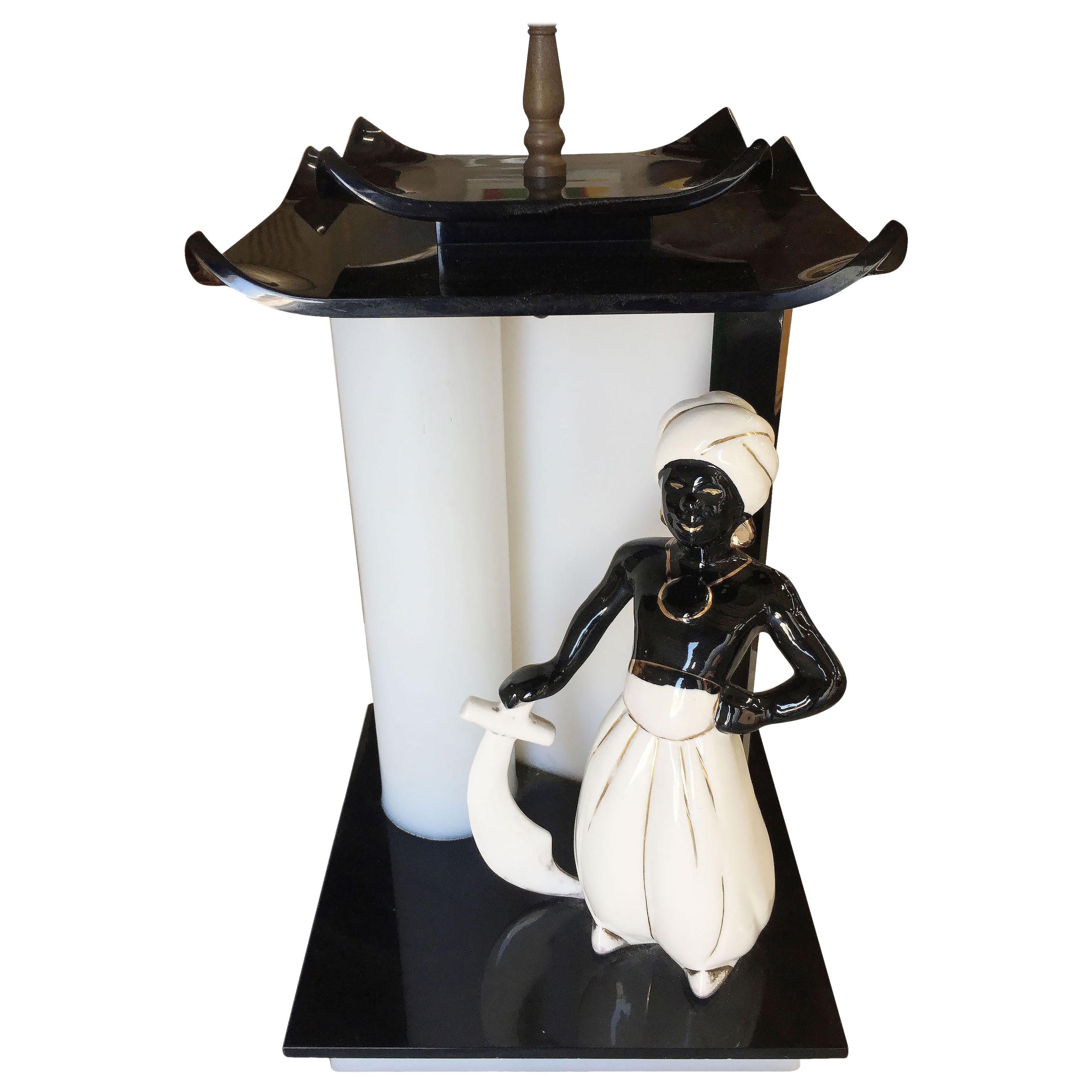Midcentury Arabian Inspired Lucite Sculptural Lamp by Moss