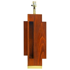 Mid Century Architectural Geometric Teak Table Lamp on Solid Brass Base