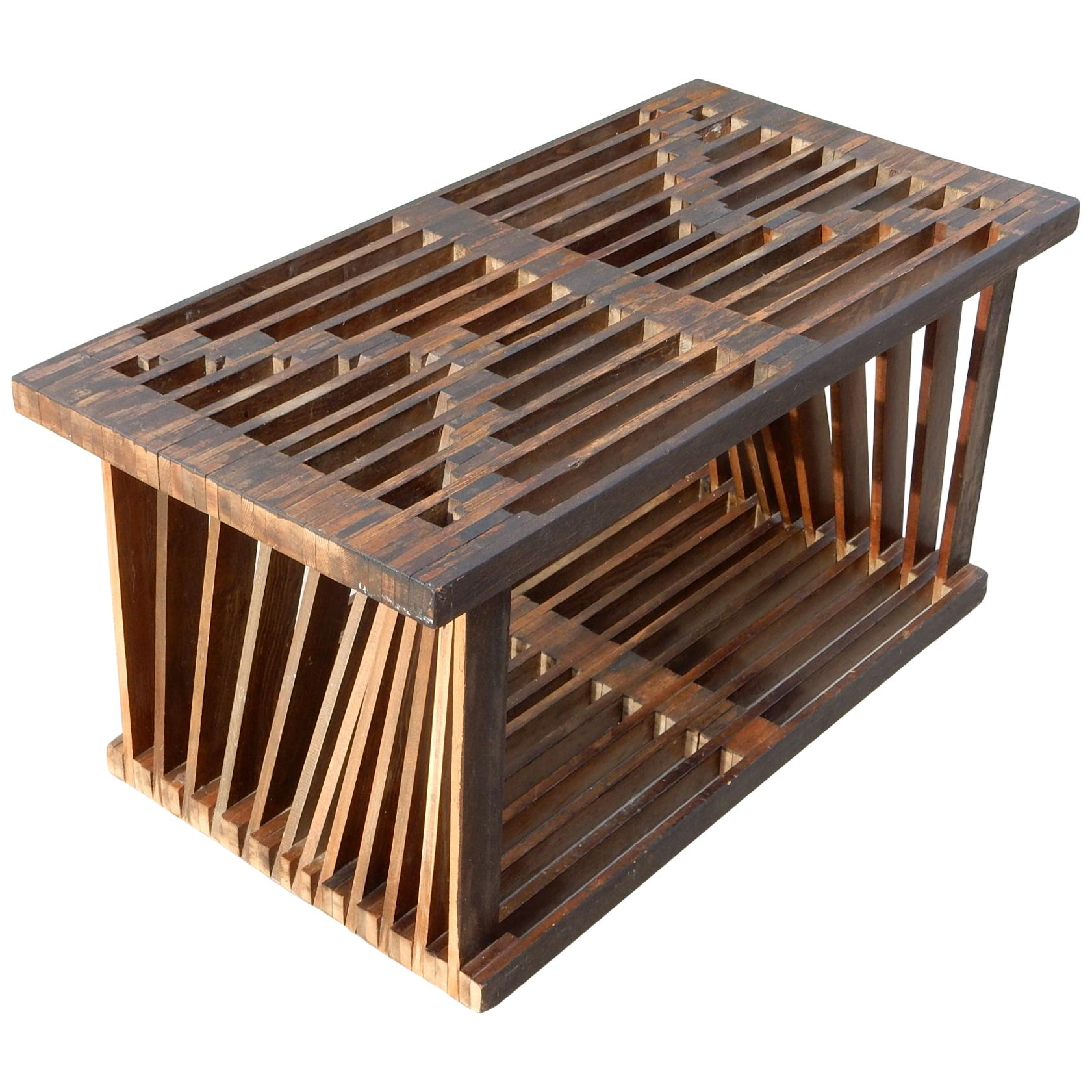 Midcentury Architectural Slat Coffee Table or Bench