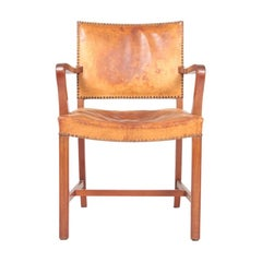 Midcentury Armchair in Patinated Niger Leather, Danish Design, 1940s