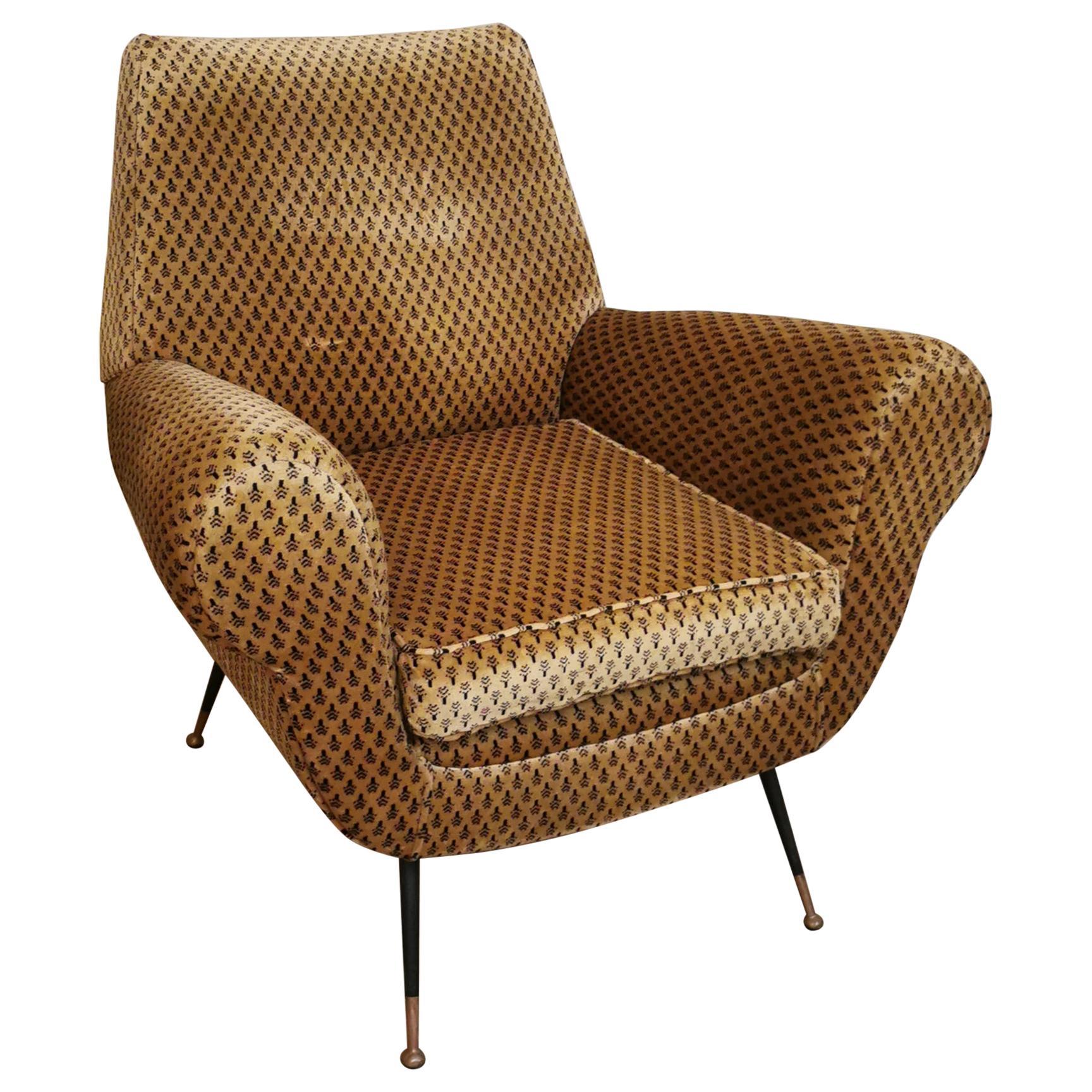 Mid Century Armchair by Gigi Radice Velvet Brown Black Brass, Italy, 1950s