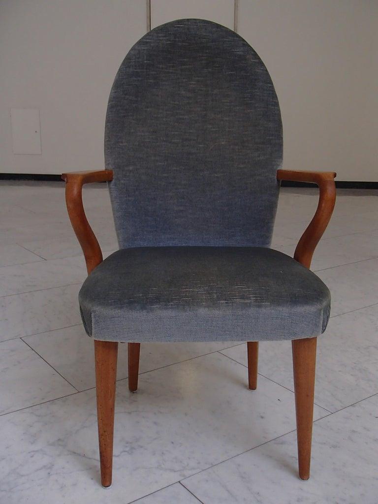 Midcentury armchair greyblue velvet.