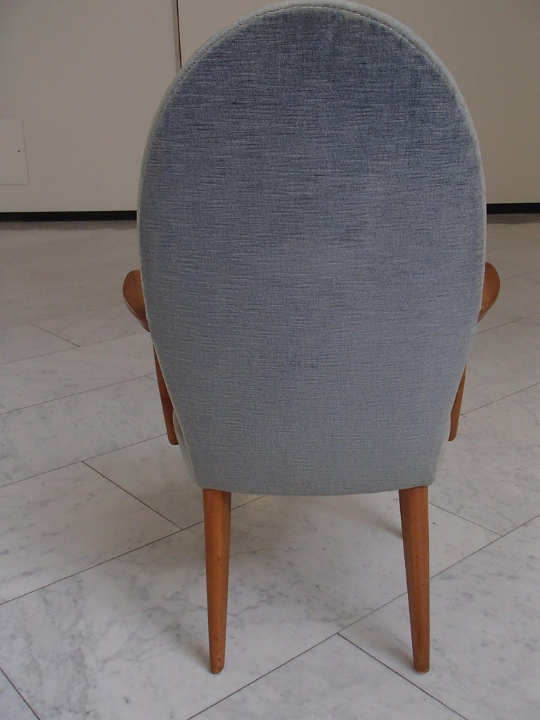 Midcentury Armchair Greyblue Velvet  In Good Condition For Sale In Zurich, CH