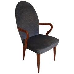 Midcentury Armchair Greyblue Velvet